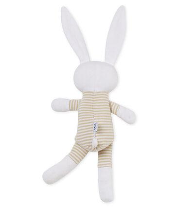 Unisex baby rabbit rattle comforter Perlin beige / Marshmallow white