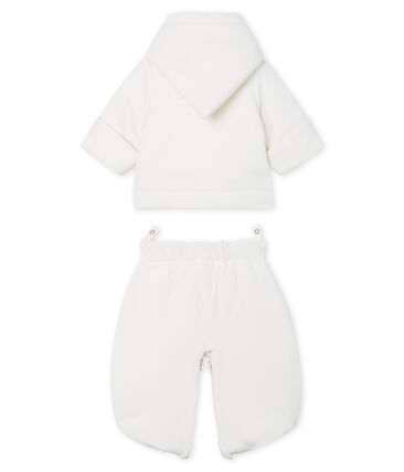 3-in-1 Babies' Velour Snowsuit Marshmallow white