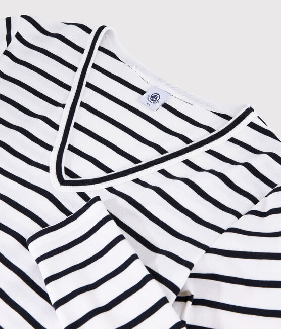 Women's iconic V-neck T-shirt Marshmallow white / Smoking blue