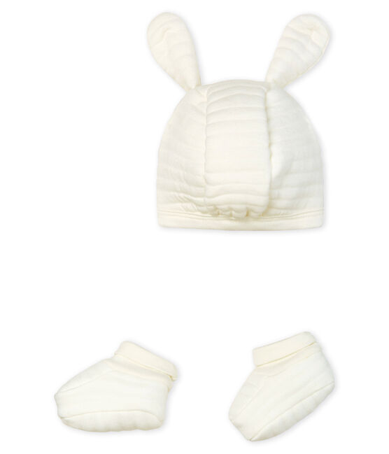 Baby Bonnet and Bootees in Tube Knit . set