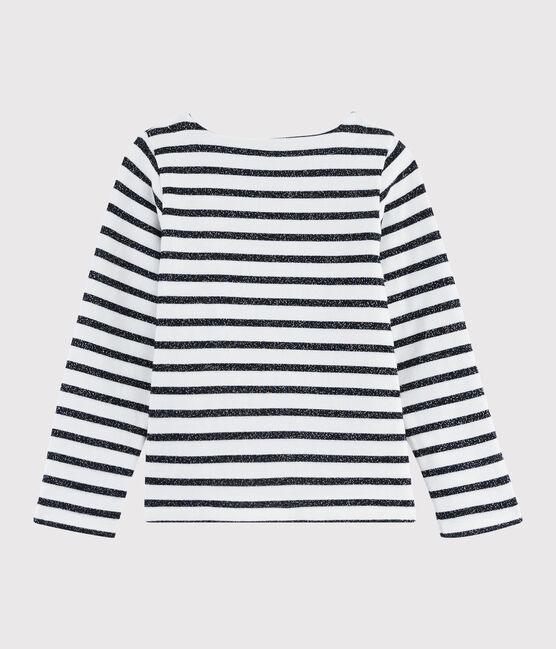 Girls' Jersey Sailor Top MARSHMALLOW/SMOKING ARGENT BRI