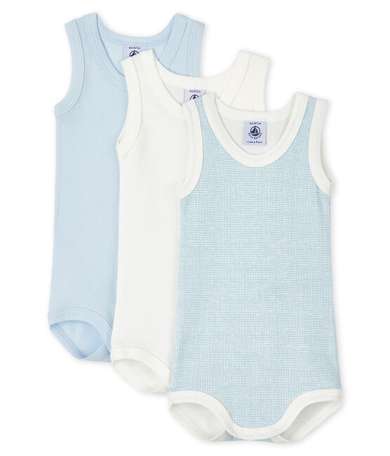 Baby Boys' Blue and White Sleeveless Bodysuit – 3-Piece Set . set