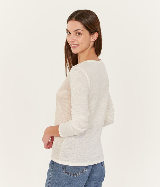 Women's long-sleeved iridescent linen t-shirt Marshmallow white / Copper pink
