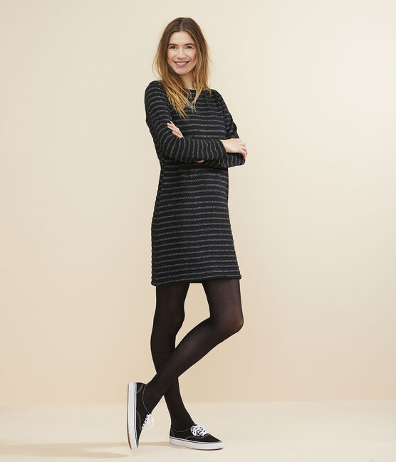 Women's Breton striped dress NOIR/ARGENT