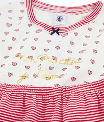 Girls' Ribbed Short Pyjamas Marshmallow white / Multico white