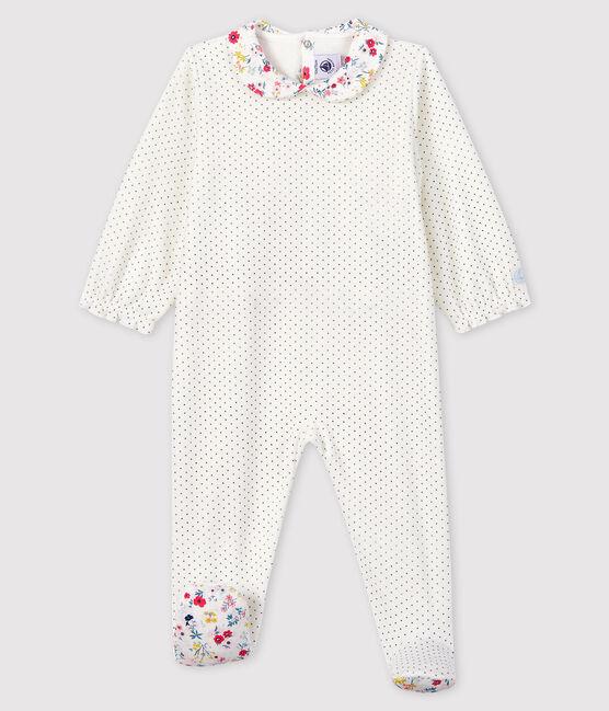 Baby Girls' Spotted Velour Sleepsuit Marshmallow white / Medieval blue