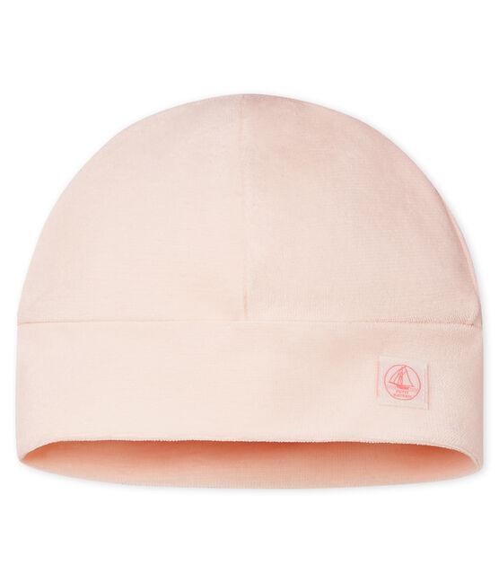 Newborn Babies' Velour Bonnet Fleur pink