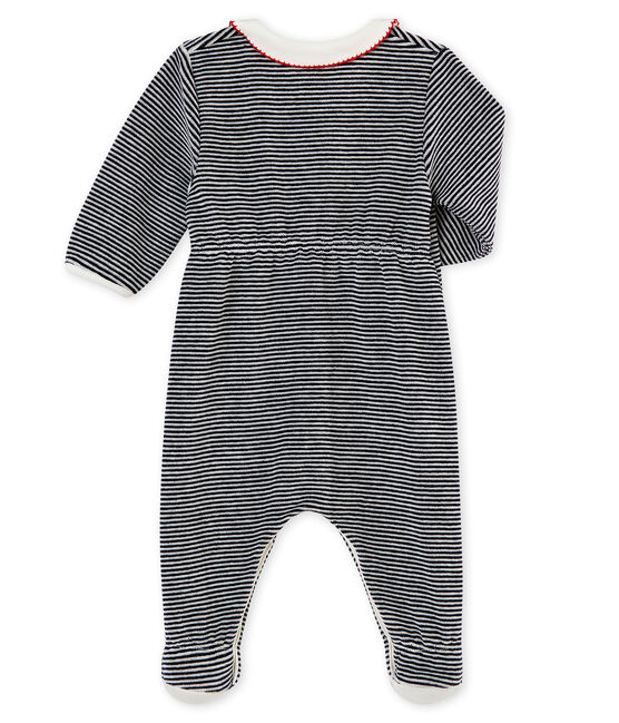 Baby girl's sleepsuit with iconic stripes Smoking blue / Marshmallow white
