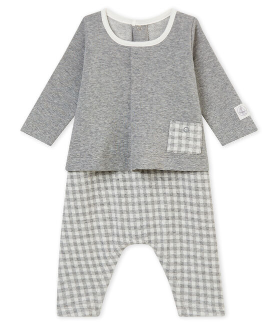 Baby boy's gingham all•in•one Subway grey / Marshmallow white