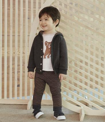 Baby Boys' Hoody in Elastane Rib Knit. City Chine grey