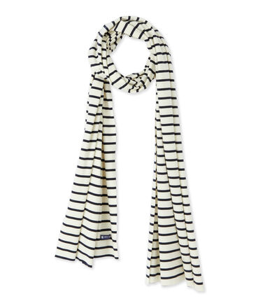 Women's nautical striped scarf Coquille beige / Smoking blue