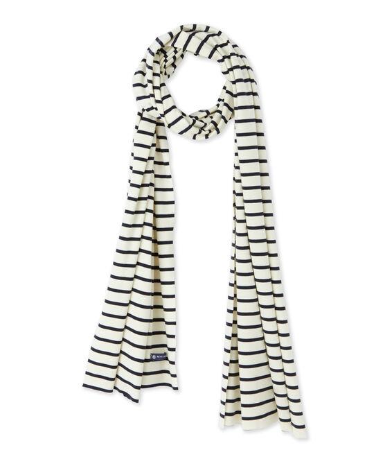 Women's nautical striped scarf Coquille beige / Smoking blue