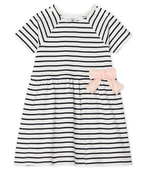 Baby Girls' Striped Short-Sleeved Dress Marshmallow white / Smoking blue