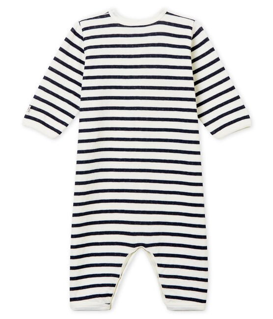 Unisex Babies' Tube-Knit Footless Sleepsuit Marshmallow white / Smoking blue