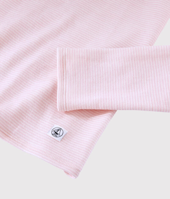 Women's wool and cotton blend T-shirt Charme pink / Marshmallow white