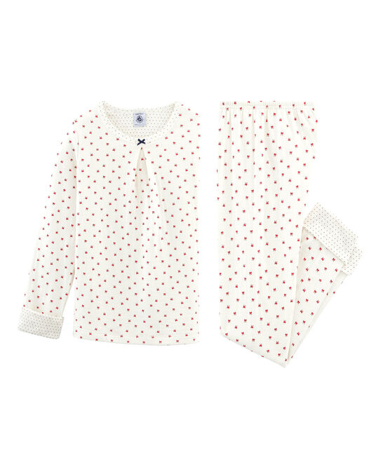 Girls' Tube Knit Pyjamas Marshmallow white / Terkuit red