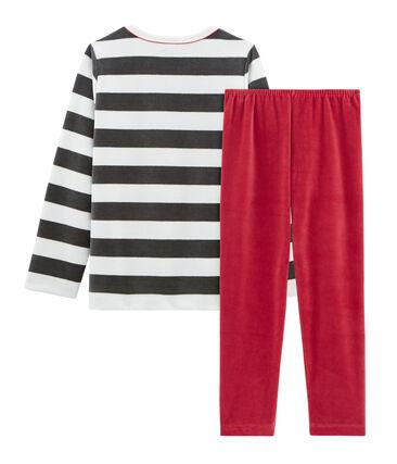 Boys' Velour Pyjamas Terkuit red / Multico white
