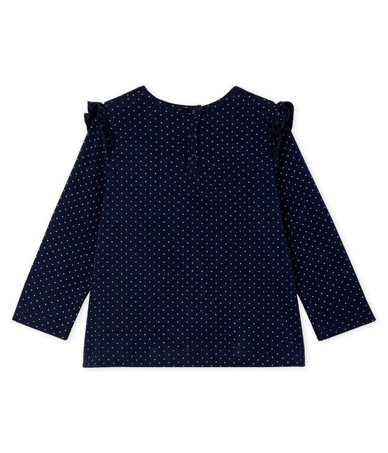 Baby Girls' Long-Sleeved Print Blouse Smoking blue / Marshmallow white