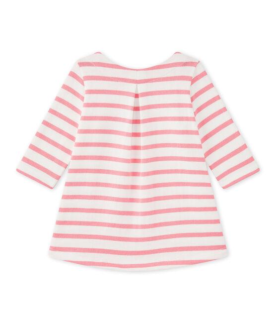 Baby girl's striped dress Marshmallow white / Petal pink