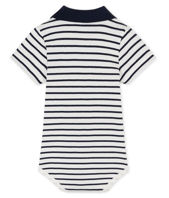 Baby boys' bodysuit with polo shirt collar Marshmallow white / Smoking blue