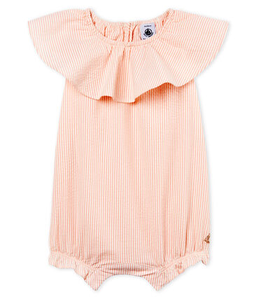 Baby girls' striped Shortie Marshmallow white / Rosako pink