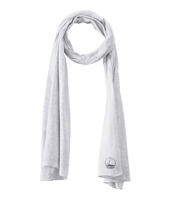 Women's scarf in an extra-fine tube knit Poussiere grey / Lait white