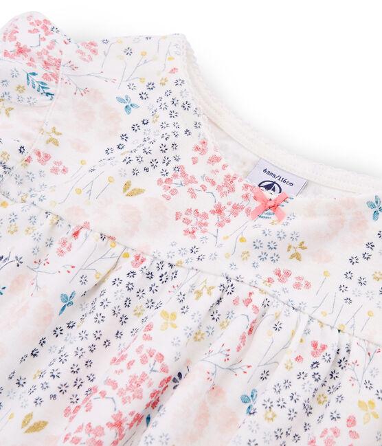 Girls' Ribbed Cropped Pyjamas Marshmallow white / Multico white