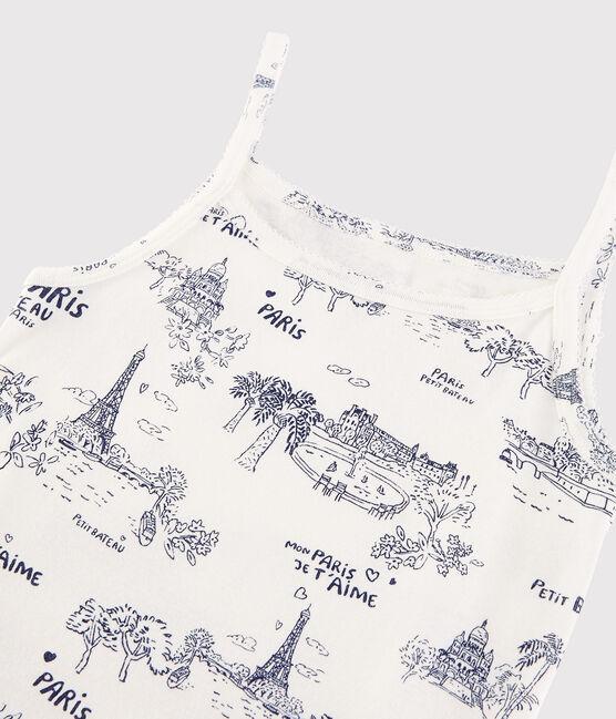 Women's Strappy Cotton Print Shirt Marshmallow white / Medieval blue