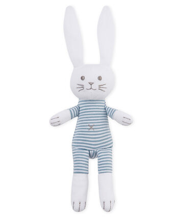 Unisex baby rabbit rattle comforter Fontaine blue / Marshmallow white
