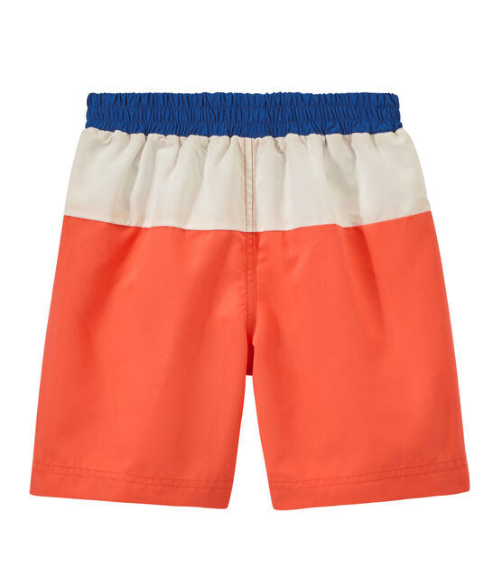 Boys' tricolour swim shorts Orient orange / Marshmallow white