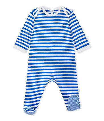 Baby boy's striped sleepsuit Perse blue / Ecume white