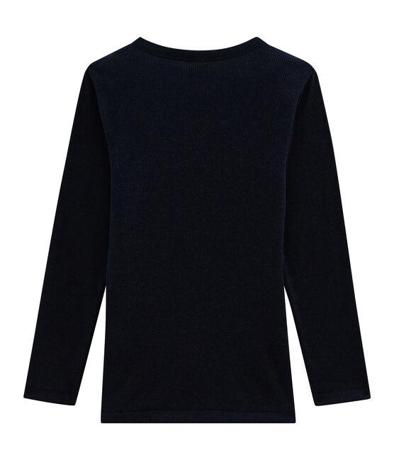 Children's Long-Sleeved T-shirt in Cotton/Wool/Silk Smoking blue