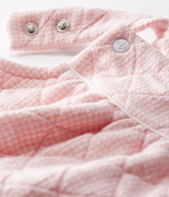 Babies' Quilted Tube-Knit Dungaree Shorts Charme pink / Marshmallow white