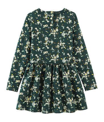 Cotton sweatshirt dress Sherwood green / Multico white