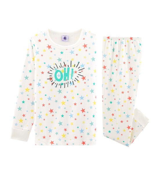 Unisex Children's Tube Knit Pyjamas Marshmallow white / Multico white