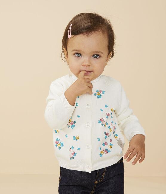 Baby girl's long-sleeved cardigan Marshmallow white