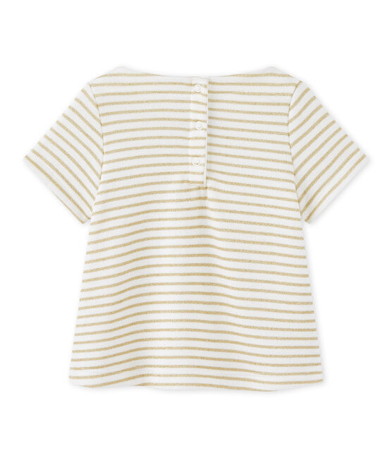 Baby girl's striped T-shirt MARSHMALLOW/DORE CN