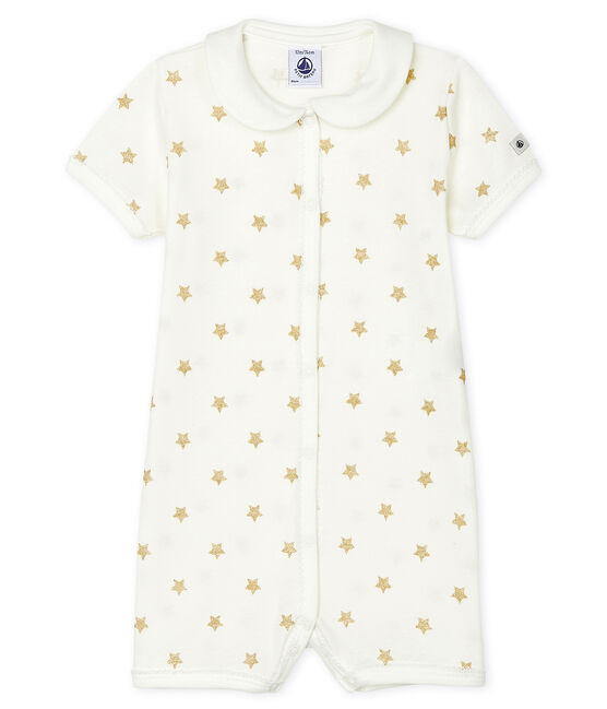 Babies' Rib Knit Playsuit Marshmallow white / Or yellow