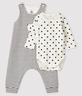 Baby's Tube Knit Clothing - 2-Piece Set Marshmallow white / Smoking blue