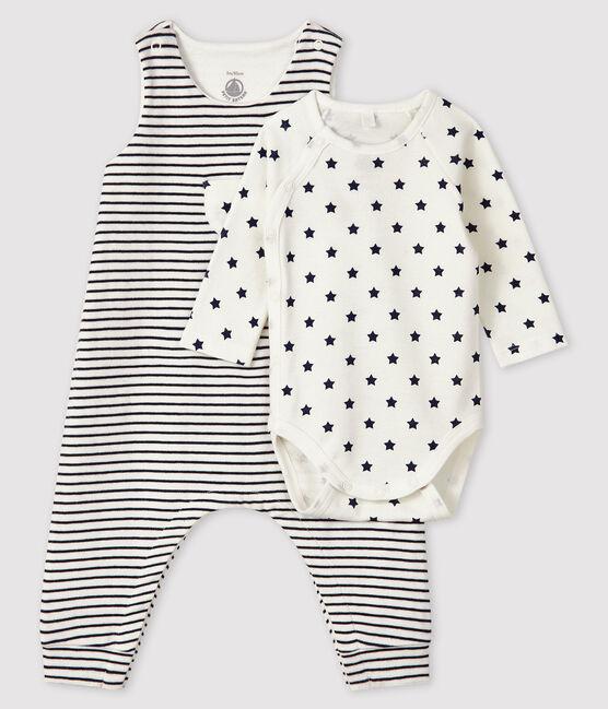 Baby's Tube Knit Clothing - 2-Piece Set Marshmallow white / Smoking blue