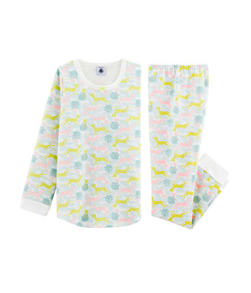 Girls' Fleece Pyjamas Marshmallow white / Multico white