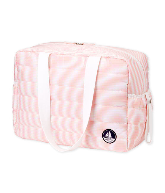 Changing bag made of quilted polyester. Rosako pink / Marshmallow white
