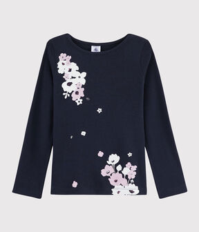 Girls' Screen Printed T-Shirt Smoking blue