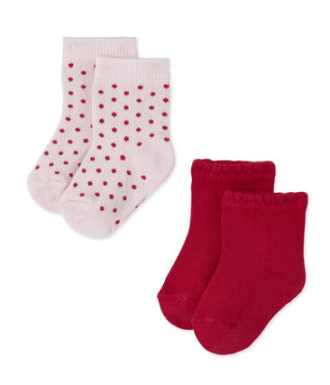 Set of 2 pairs of plain and polka dot baby girl's socks . set