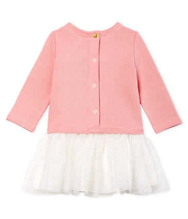Baby Girls' Long-Sleeved Dual Material Dress Charme pink / Multico white