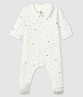 Baby Boys' Starry Night Tube Knit Sleepsuit Marshmallow white / Multico white