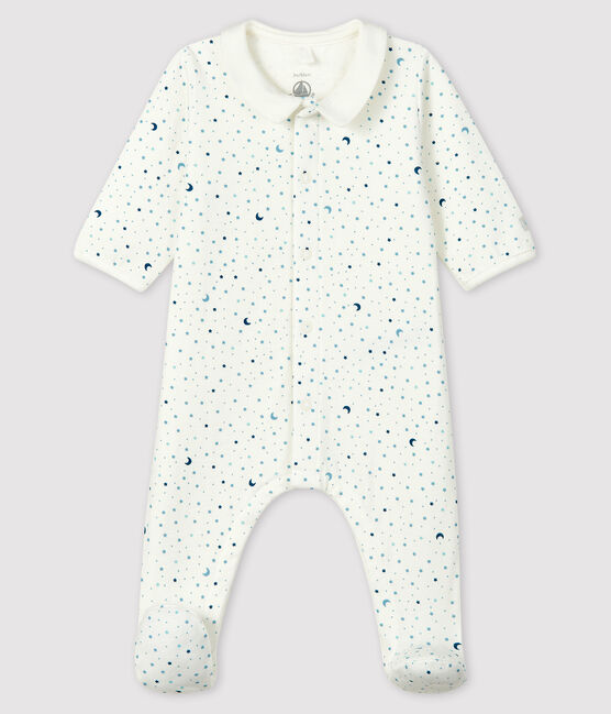 Baby Boys' Starry Night Tube Knit Sleepsuit Marshmallow white / Multico white