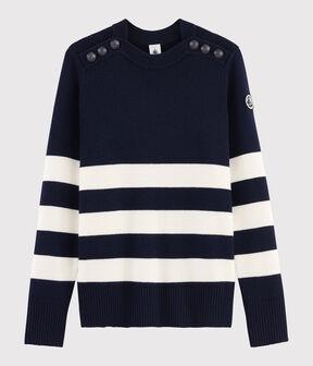 Women's Wool Breton Pullover Smoking blue / Marshmallow white