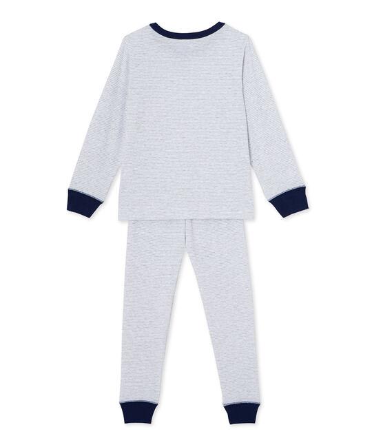 Pyjama garçon en milleraies Poussiere grey / Lait white