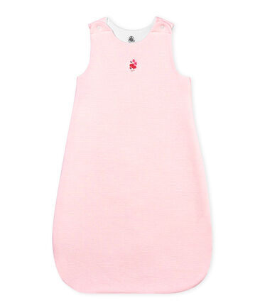 Unisex baby pinstriped sleeping bag Vienne pink / Marshmallow white